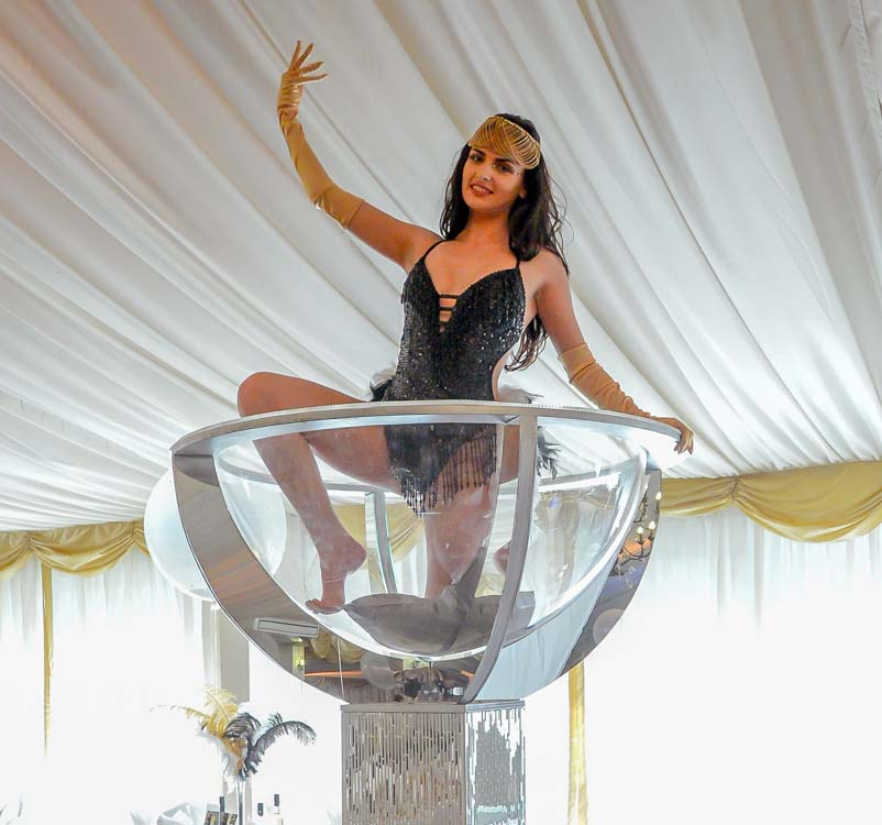 Giant Martini Glass & Girl for hire