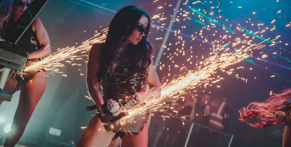 Angle grinder performer act for hire