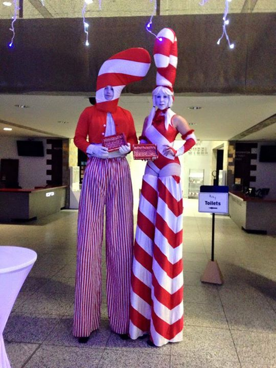 Christmas Candy Cane Stilt Walkers for hire
