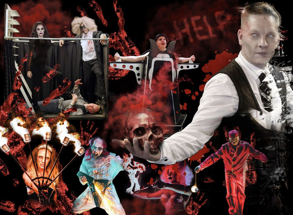 Illusionist illusion production show for hire Halloween themed